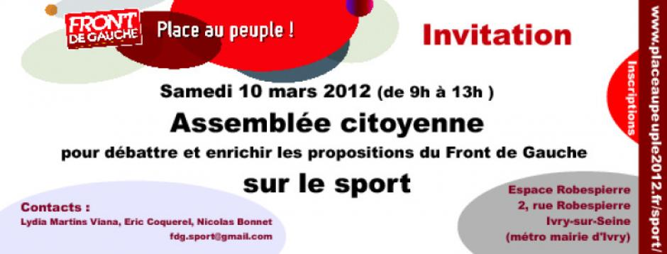 samedi 10 mars : FORUM NATIONAL DU FRONT DE GAUCHE DU SPORT