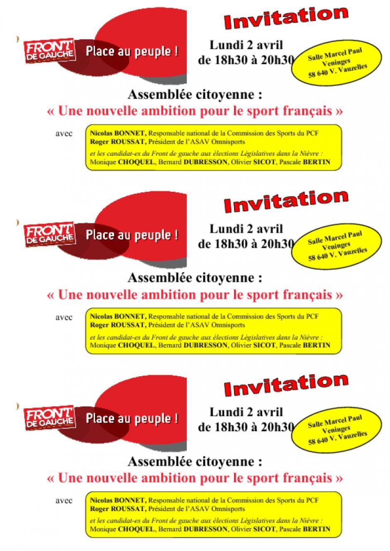 lundi 2 avril, assemblée citoyenne sur le sport à Varennes Vauzelles (58)