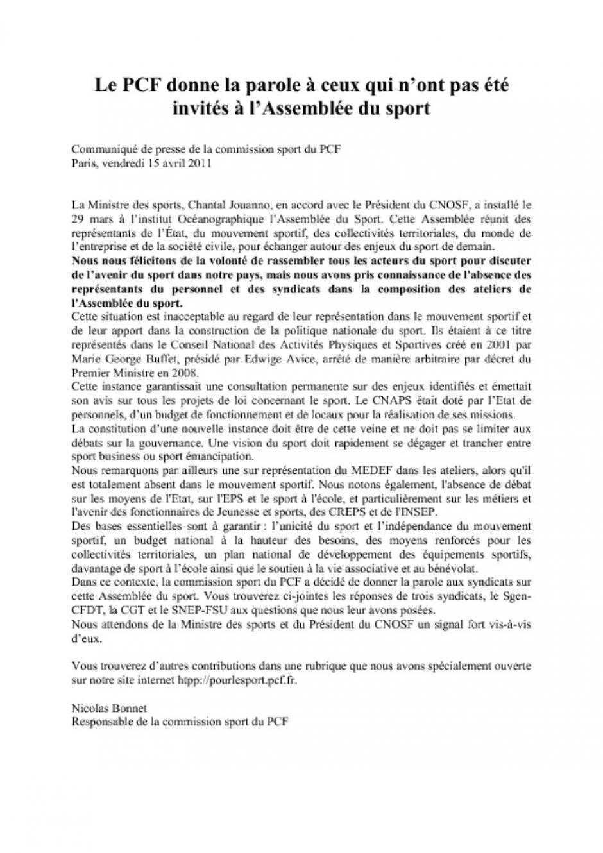 ASSEMBLEE DU SPORT : Analyses et propositions du SGEN-CFDT