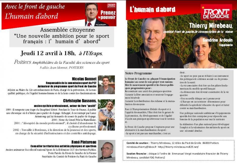 jeudi 12 avril à Poitiers : assemblée citoyenne sur le sport