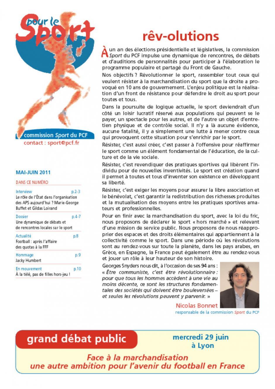 Pour Le Sport mai - juin 2011