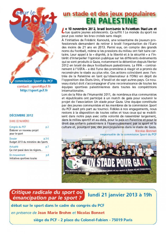 Pour le sport - Décembre 2012
