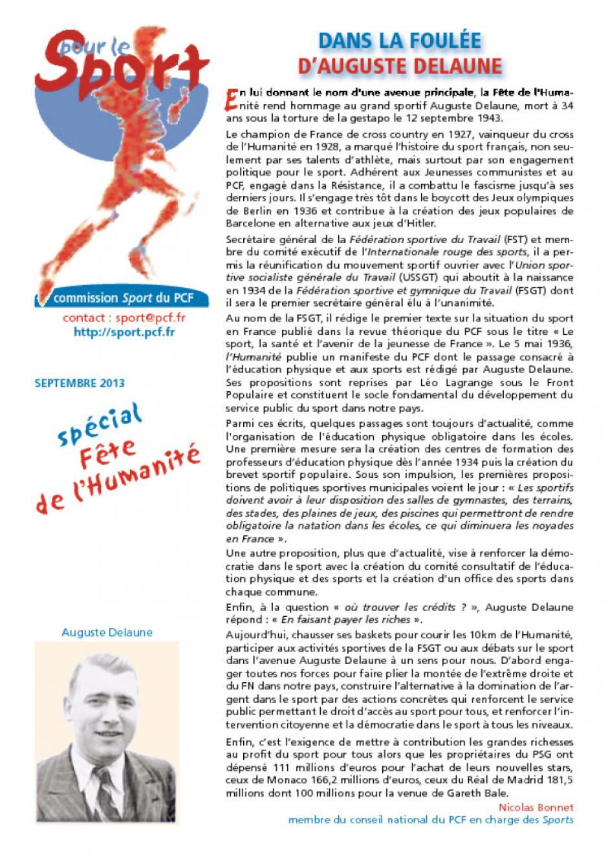 Pour le Sport - septembre 2013