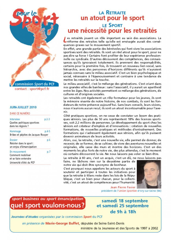 Pour le sport - Juin/Juillet 2010