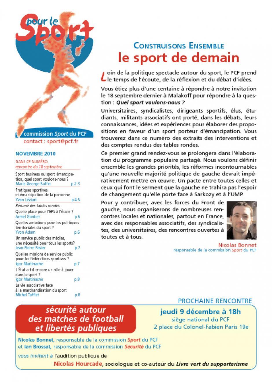 Pour le sport - Novembre 2010