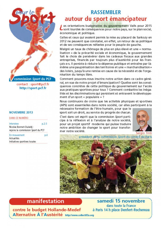 pour le Sport - novembre 2014